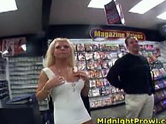 Pornstar xxx clip provides you with a kinky blondie. Long haired chick in white dress is ready for some fun. Zealous girlie with nice tits goes to the sex shop to strip and masturbate there right in front of the dudes.