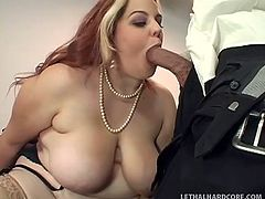 Too much of that American life style made Buxom a fat ass whore and now, Guy gets to see her ass on his desk. Guy is more then happy, to fuck such a beautiful bbw and he spreads her butt, before filling cheek's throat with his dick. Yeah she likes black meat between her lips, will she get some cum topping on that?