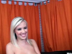 Peppering blond babe Britney Beth kneels down to give double blowjob