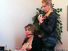 Secretary gagged by mistress at work