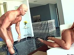 Mason Moore enjoys in getting her shaved slit pounded hard and good in all poses against the wall by a hunky dude Christian xxx in the kitchen and gets caught