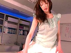 Tempting Japanese brunette dill Arisa Sawa with long legs and natural boobs in white skirt gets licked good by her lover and rides on his cock like there is no tomorrow.