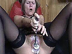 INSANE AMATEUR SLUT HAS HER VAGINA MUTILATED WITH BRUTAL DOUBLE FISTING AND TOILET BRUSH INSERTIONS