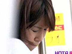 Hot japanese milf got her pantyhose pulled up and fucked on the train. Her big natural tits are bouncing when she takes his cock in her juicy pussy!