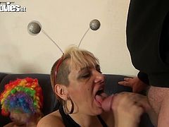 One dirty worn out bitch teaches young slut sucking skills. She guzzles dick of one security guy and after rides it like sex insane bitch. Enjoy hot group orgy for free.