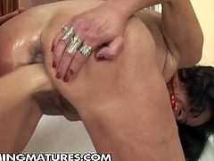 See a vicious mature getting her hairy clam fisted by a hot brunette into a breathtaking explosion of orgasmic pleasure.
