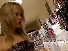 Blonde Blue Angel finds herself horny enough and takes toy in her love hole with desire
