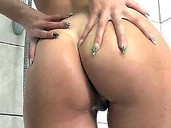 Young tanned brunette beauty Elizabeth Rose with pierced belly button and long whorish nails gets aroused while hawing shower and starts stuffing tight honey pot with vibrator to warm orgasm.