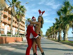 Sexy Ivana Sugar is riding Santa's cock outdoors