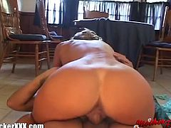 This milf has a see-trough lingerie on. She teases the man from her kitchen until he nails her pussy right there.