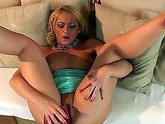 Blonde sex kitten Kathia Nobili masturbating like crazy