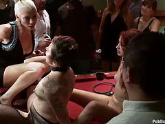 Yeah, we really get bored here at Public Disgrace and nothing's more boring, then cheap whores, being humiliated on a snooker table. These worthless bitch do everything and we like them that way. Fingered, mouth fucked or drilled from behind - the bitches enjoy it, just as much we enjoy the show!