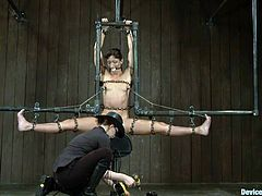Wenona is a slut that loves to be punished. She's all tied with chains and secured in that bondage device as her mistress takes care of her. First she receives a few spanks on her pussy and then then a rodeo sex machine is positioned under her cunt. Stay with her and enjoy it!