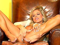 Tight ass tanned blonde hottie Nicole Graves with french manicure and nice tits spreads long legs and fingers her shaved twat in provocative positions while teasing her nasty lover.