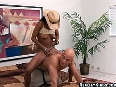 Check out this spectacular ebony Latina with the amazing booty and the uncontrollable lust sucking cock and getting her shaved pierced pussy fucked.