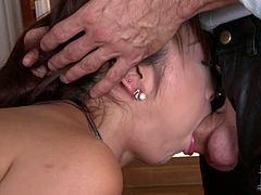 Frisky Japanese harlow stands in doggy position on the table while a perverse white dude pokes her asshole with a sex toy. Later he approaches her from the front to force her oral fuck his sturdy penis before fanalucking her with pressure.