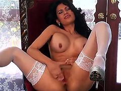 Vanessa Veracruz is a smoking hot Latina who wears her sexy stockings only for you! She loves to masturbate on camera while making all of her internet fans horny as fuck.