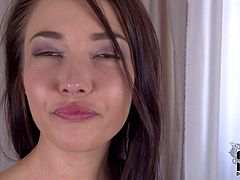 Angelik Duval is a lovely French girl at the beginning of her porn career. Attractive brunette takes off her black bra and panties before she finger fucks her shapely ass. She does it for the camera in a playful manner.