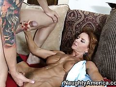 Chad Alva plays with soaking wet slit of Janet Mason with big breasts before he bangs her hard