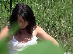 Horny amateur brunette teen Lucy sunbathes naked. She gets too hot so she starts masturbating outdoor. She rubs wet pink pussy. Lucy also inserts her fingers in tight teen cunt moving them in and out fast.