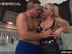 Mature blonde hoe swallows big boner on kitchen floor