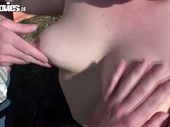 Hussy fat chick with saggy tits prefers outdoor sex fun. She spreads her legs and her fucker fingerfucks her pussy making her moan with pleasure.