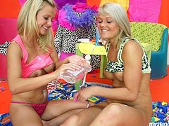 My Sexy Kittens xxx clip provides you with two rather pretty blond lesbos. Both slim gals thirst for multiple orgasm. Wonderful nymphos with sweet tits wear no panties, cover their wet juicy pussies with cream and lick it off passionately.
