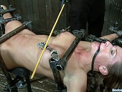 Suspended above the floor with metal bars, mouth gagged an spanked, Ariel finds herself in a very delicate situation. She has metal clamps on her nipples and gets her pussy roughly fisted, all that inducing her more pain then she can handle. This whore doesn't has how to escape and she will have to endure it all