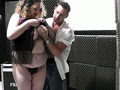 Hot bbw babe let the horny guy get rid of her tiny panties and cut through her mounds of sexy flesh with his rock hard boner. He still didn't like her singing afterwards, but for her rocking sexual performance.Enjoy!