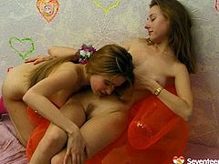 Slender teen lesbians need nothing more but to reach orgasm tonight. Already naked long legged teens play with natural tits and get busy with tickling and licking each other's wet juicy fresh pussies.
