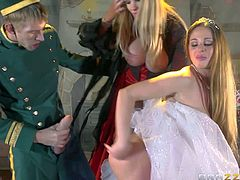 Cathy Heaven and Rebecca Moore are milfs with huge melons that share rock hard big cock like crazy in Cinderella porn parody. Hot well hung guy in uniform gets his boner shares by well-endowed women.