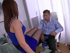 Elegant four-eyed babe in blue tight feet dress and black nylon pantyhose takes off her shoes and gives unthinkable footjob at the office. Watch her stroke hard dick with her nyloned feet.
