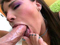Dana De Armond is a babe who is into fetishes and this time she practices feet fetish. She gives an oral while the feet are close to her mouth and in her mouth along with it.