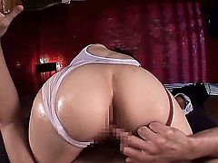 Teen Japanese bombshell Julia with fantastic big ass starts with a great blowjob and lets her gorgeous pussy to be fucked in the perfect position!