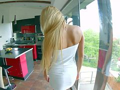 Young tempting blonde Ivana Sugar with long legs and natural boobies in provocative white dress teases her partner in pint of view all over the place and puts plug in ass