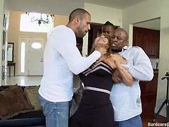 Rich MILF with big boobs gets undressed by intruders. Then she gets her ass, pussy and mouth fucked at the same time.