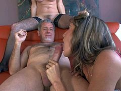 Glassed mature Alexandra Silk in black stockings teams up with her step-daughter Kara Price to give oral pelasure to a lucky thick dicked guy. Mom and young chick sucks his beefy dick like mad.