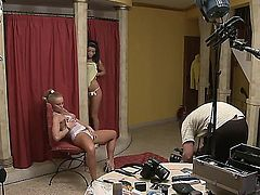 Handsome blonde teen chick Silvia Saint is sitting on chair and showing off her boobs and cunt to the camera and her brunette girlfriend Tea Jul joins her.