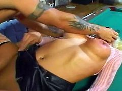 Check this provocative fishnet blonde getting her sweet pussy and tight ass rammed deep and hard. They start on the pool table and they soon are all over the house.