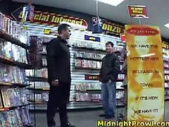 Sex hungry white dude hooks up with a tasty looking Asian slut with petite frame covered with white mini dress in disk store to lure her to steamy fuck.