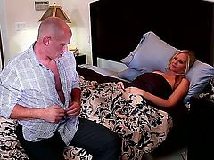 Hot breathtaker Julia Ann loves hard dick sucking in steamy oral action with James Deen