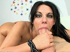 With big round tits and an incredible ass, this brunette's an instant boner. Watch this POV where she brutally deep throats a big cock.