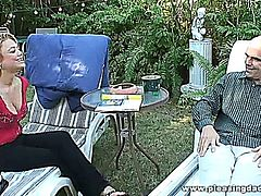 Victoria White gets her wet young latino pussy fucked by an old guy out in the garden