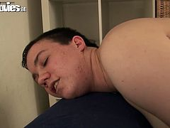 Short-haired bitch with chubby body is sitting on a couch with her legs wide open. She stretches her pussy lips showing the clam close-up. Later she masturbates with fat dildo. The guy joins her on set drilling her butthole with another sex toy.