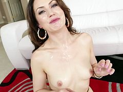 Gorgeous brunette Sarah Shevon is having fun with a lucky dude. The babe strokes her amazing body and then kneels in front of the man and drives him mad with a stunning blowjob.