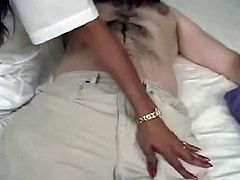 Naughty nurse with huge boobs Lisa seduces two patients for dirty MMF 3some
