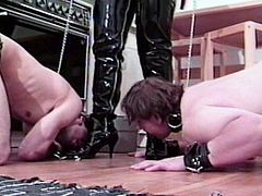 She likes having this obeying hunk enjoying the pain during their nasty femdom scene