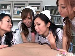 This bitches has given this guy some kind of medicine. He can't say anything, but he can feel. So these japanese babes are fulfilling their needs right there. They show this big dick guy their attractive body and juicy asses, which has made his dick hard. So this sluts are sucking him one by one.
