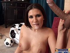 Busty brunette Austin Kincaid gives a magnificent blowjob to some dude. Then she lets him eat her coochie and they bang ardently in the reverse cowgirl and other positions.