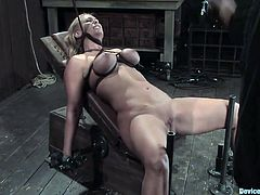 Two blondes are dominated in this clip and they seem to be having fun having their tits tortured, their pussies toyed and more in this bondage session.